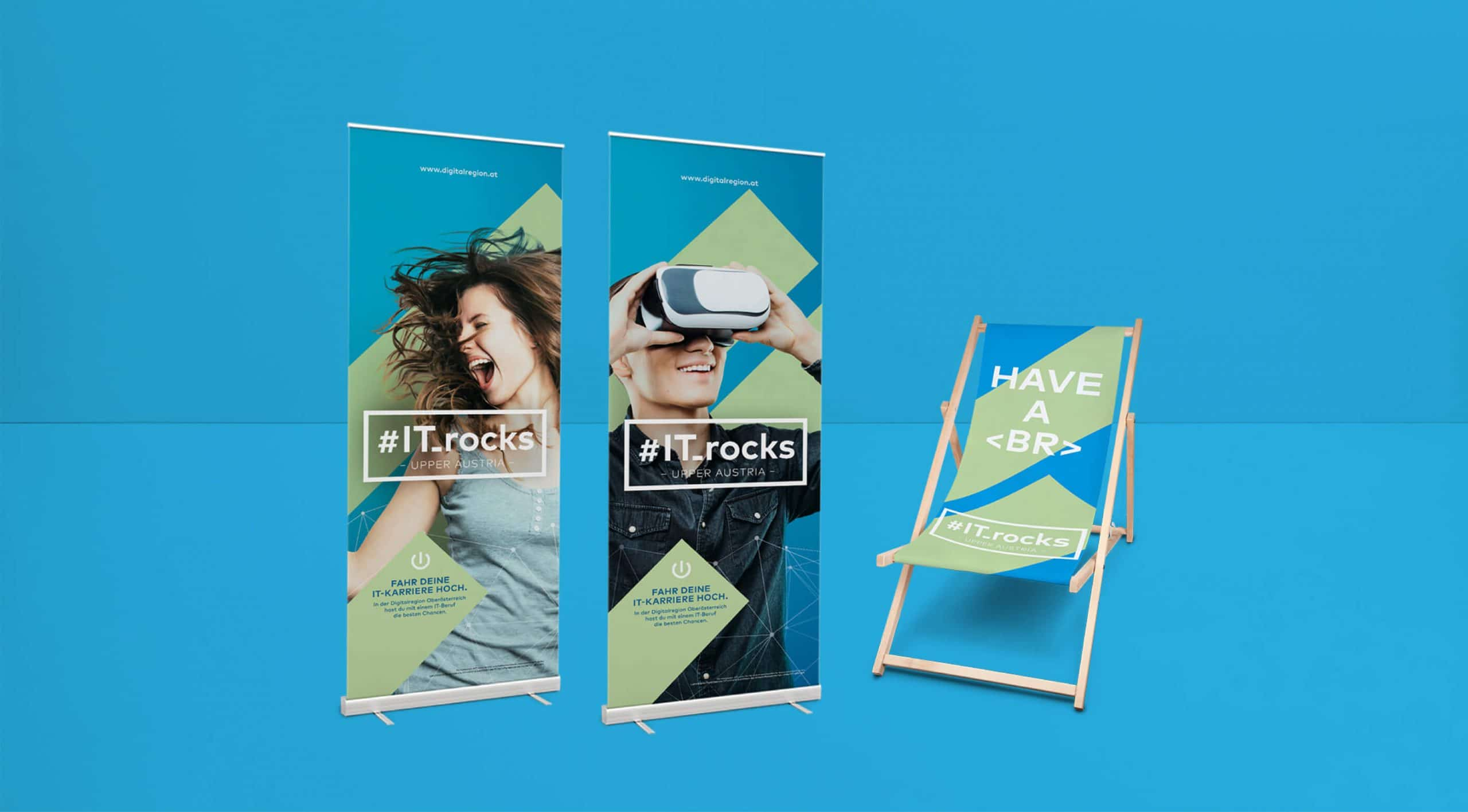 Roll Up Liegestuhl Design Branding Marke Identity